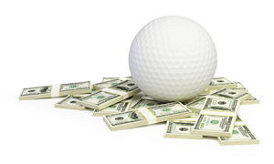 Golf ball in money